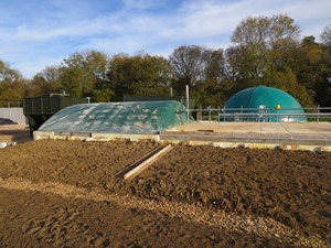Biogas collection cover installed on farm site