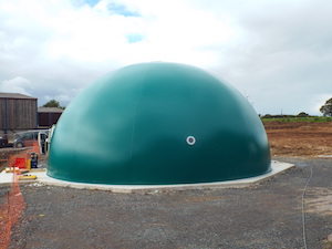 Green half sphere membrane gas holder at Edgeworthy UK