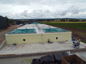 Overlooking new digester covers installed on farm