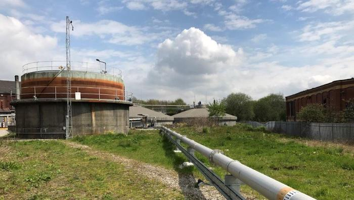 Digester and gas pipework at Oldham WwTW