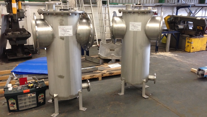 Stainless steel condenstae pots manufactured for Wanlip WwTW