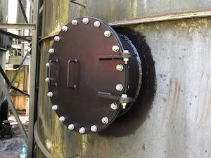 Steel access hatches installed on a digester at Neachley WwTW